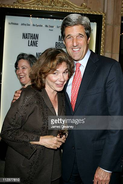 Teresa Heinz Kerry and John Kerry during The Odd Couple Broadway First Night of Previews Arrivals at Brooks Atkinson Theatre in New York City New...