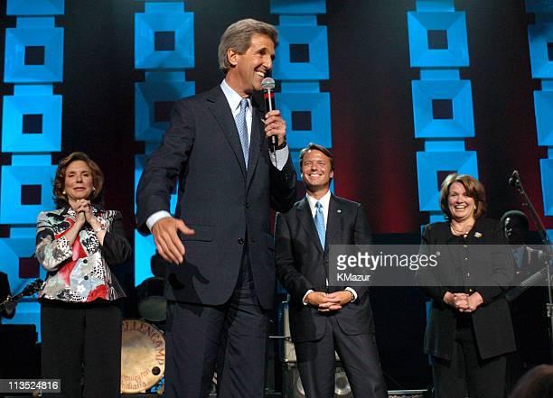 Teresa Heinz Kerry Senator John Kerry Senator John Edwards and Elizabeth Edwards onstage at Radio City Music Hall in New York City for A Change Is...