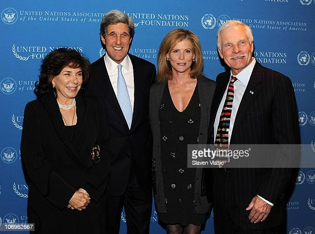 Teresa Heinz Kerry Senator John Kerry TV personality Catherine Crier and United Nations Foundation Founder and Chairman Ted Turner attend the Global...