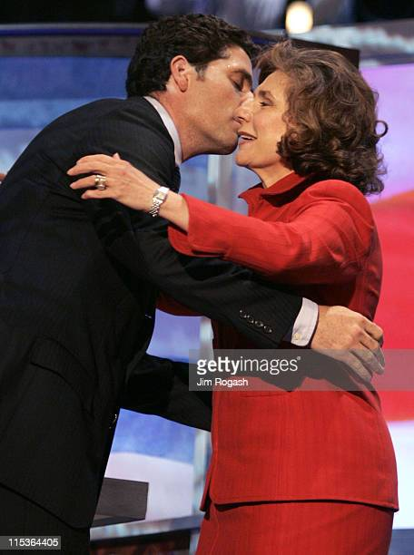Teresa Heinz Kerry wife of Democratic Presidential hopeful John Kerry is kissed by her son Chris Heinz during the second day of the Democratic...