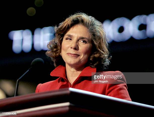 Teresa Heinz Kerry wife of Democratic Presidential hopeful John Kerry pauses before speaking during the second day of the Democratic National...