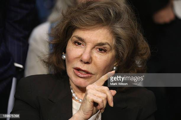 Teresa Heinz Kerry wife of Sen John Kerry arrives for her husband's confirmation hearing before the Senate Foreign Relations Committee to become the...