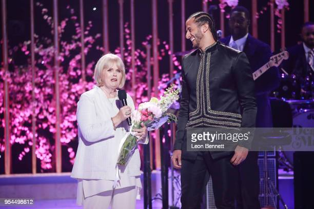 Teresa Kaepernick and Colin Kaepernick speaks onstage during VH1's 3rd Annual Dear Mama A Love Letter To Moms Inside Show at The Theatre at Ace Hotel...