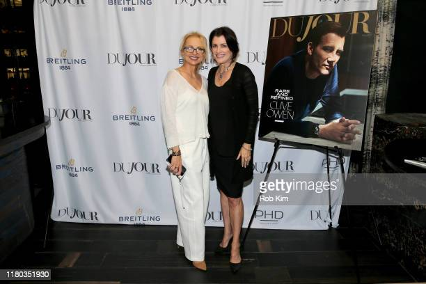 Teresa Laughlin and Jennifer Convey attend the DuJour Media celebration of the October Cover Star Clive Owen at PHD Lounge presented by Breitling's...