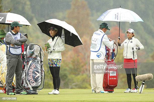 Teresa Lu of Taiwan and BoMee Lee of South Korea at 7th tee ground during the second round of the Itoen Ladies Golf Tournament 2015 at the Great...