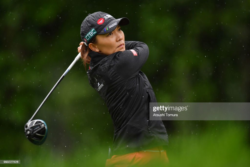 Teresa Lu of Taiwan hits her tee shot on the 15th hole during the second round of the Nipponham Ladies Classic at the Ambix Hakodate Club on July 7, 2018 in Hokuto, Hokkaido, Japan.