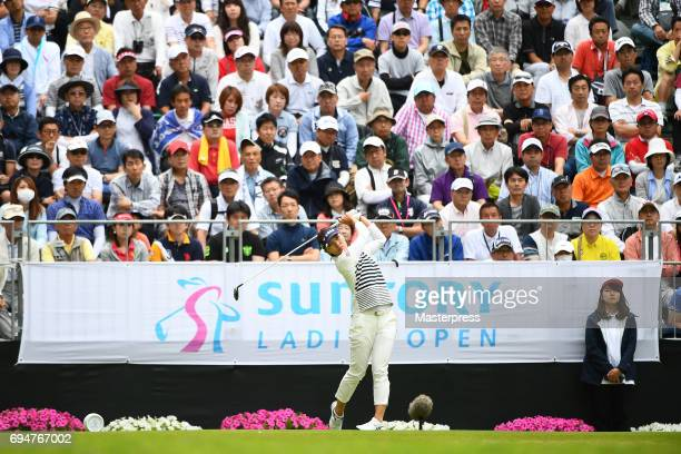 Teresa Lu of Taiwan hits her tee shot on the 1st during the final round of the Suntory Ladies Open at the Rokko Kokusai Golf Club on June 11 2017 in...