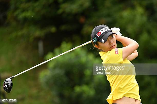 Teresa Lu of Taiwan hits her tee shot on the 7th hole during the Final round of the Munsingwear Ladies Tokai Classic 2016 at the Shin Minami Aichi...