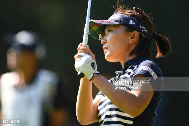 Teresa Lu of Taiwan hits her third shot on the 9th hole during the final round of the TOTO Japan Classics 2017 at the Taiheiyo Club Minori Course on...