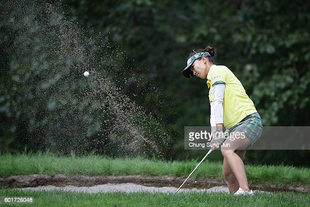 Teresa Lu of Taiwan plays a bunker shot on the 13th hole during the third round of the 49th LPGA Championship Konica Minolta Cup 2016 at the...