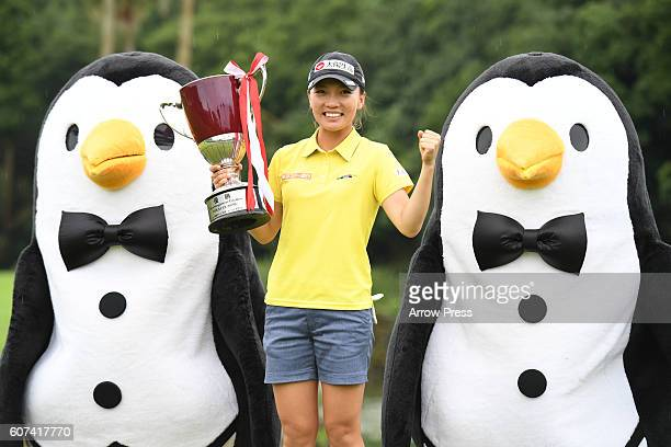 Teresa Lu of Taiwan poses with trophies after winning the during the Final round of the Munsingwear Ladies Tokai Classic 2016 at the Shin Minami...