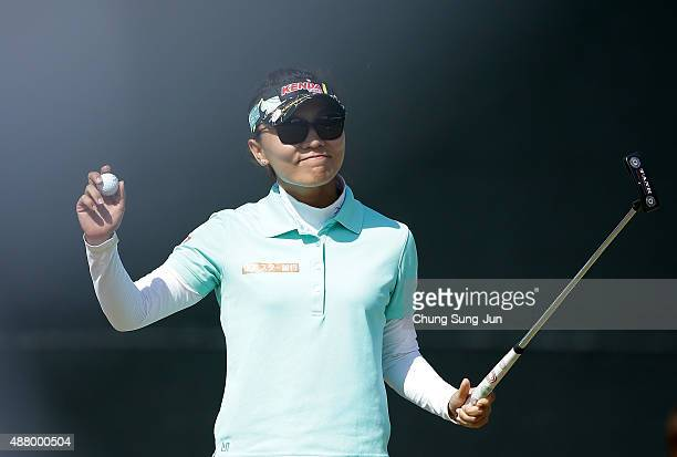 Teresa Lu of Taiwan reacts after a winning on the 18th green during the final round of the 48th LPGA Championship Konica Minolta Cup 2015 at the...