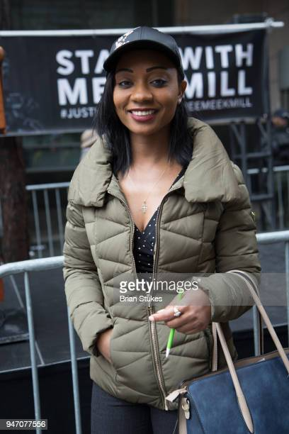 Teresa Lundy attends Meek Mill supporters protest on day of status hearing at Philadelphia Criminal Justice Center on April 16 2018 in Philadelphia...