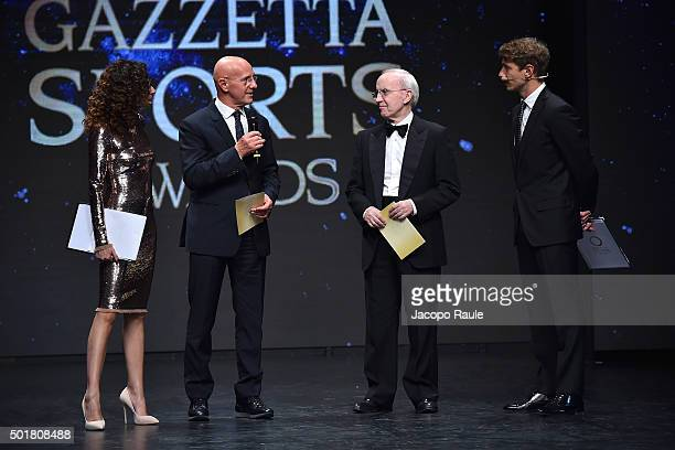 Teresa Mannino Arrigo Sacchi Dan Peterson and Giorgio Pasotti attend the 'Gazzetta Awards' on December 17 2015 in Milan Italy