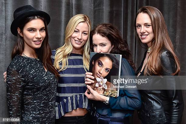 Teresa Moore Aimee Ruby Rae Morris and Claire Khodara attend the Makeup Masterclass Book Launch at Thompson Square Studio on April 4 2016 in New York...