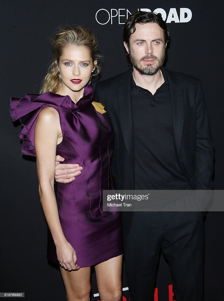 Teresa Palmer and Casey Affleck arrive at Open Road's 'Triple 9' held at Regal Cinemas L.A. Live on February 16, 2016 in Los Angeles, California.