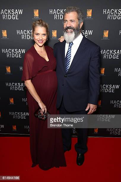 Teresa Palmer and Mel Gibson arrive ahead of the Australian premiere of Hacksaw Ridge at State Theatre on October 16 2016 in Sydney Australia