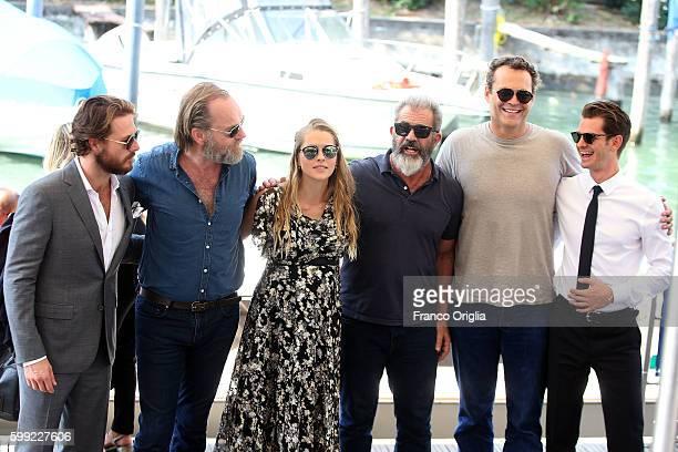 Teresa Palmer Hugo Weaving Vince Vaughn Andrew Garfield Luke Bracey and Mel Gibson are seen during 73rd Venice Film Festival on September 4 2016 in...