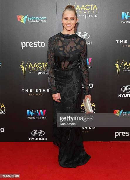 Teresa Palmer poses on the red carpet for the 5th AACTA Awards at The Star on December 9 2015 in Sydney Australia