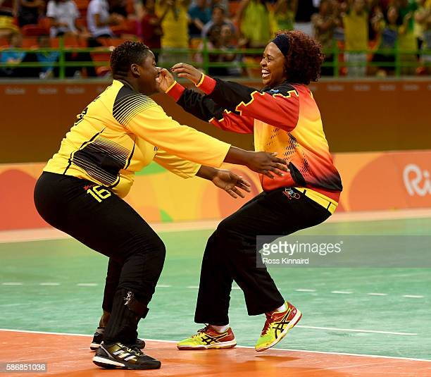 Teresa Patrica Alemida of Angola celebrates after the Women's Handball match between Romania and Angola on Day 1 of the Rio 2016 Olympic Games at...