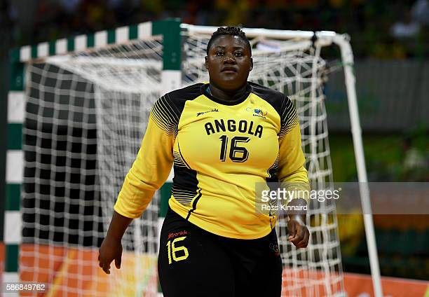Teresa Patrica Alemida of Angola during the Women's Handball match between Romania and Angola on Day 1 of the Rio 2016 Olympic Games at Future Arena...