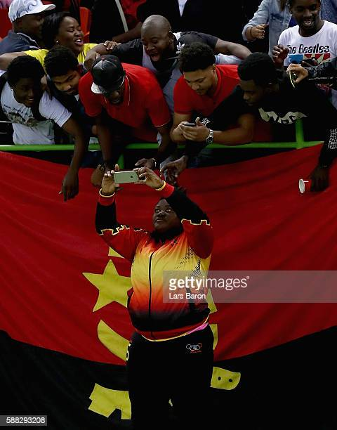 Teresa Patricia Almeida of Angola takes Angola selfie with fans after the Womens Preliminary Group A match between Norway and Angola at Future Arena...