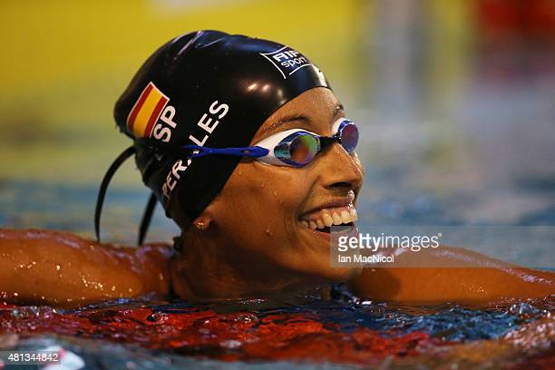 Teresa Perales of Spain celebrates after winning the final of the Women's 100m Freestyle S5 during Day Seven of The IPC Swimming World Championships...