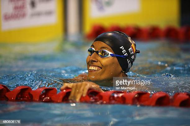 Teresa Perales of Spain celebrates after winning the Women's 50m Backstroke S5 during Day One of The IPC Swimming World Championships at Tollcross...