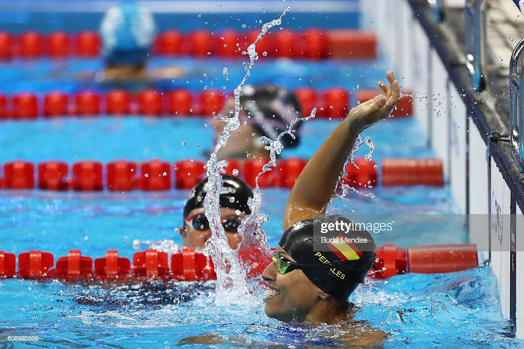Teresa Perales of Spain celebrates winning the gold medal in the Women's 50m Backstroke - S5 on day 9 of the Rio 2016 Paralympic Games at the Olympic Aquatics Stadium on September 16, 2016 in Rio de Janeiro, Brazil.