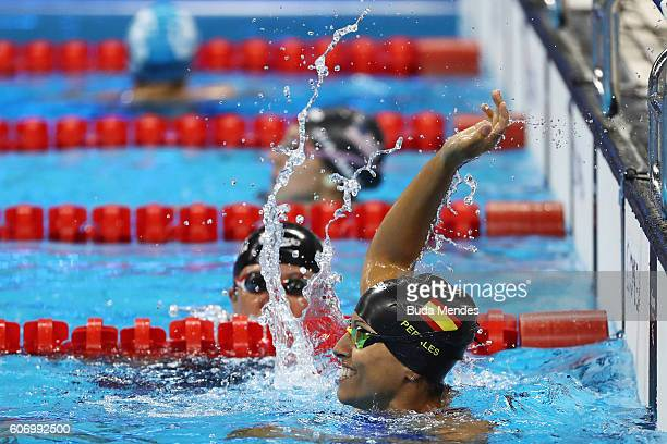 Teresa Perales of Spain celebrates winning the gold medal in the Women's 50m Backstroke S5 on day 9 of the Rio 2016 Paralympic Games at the Olympic...