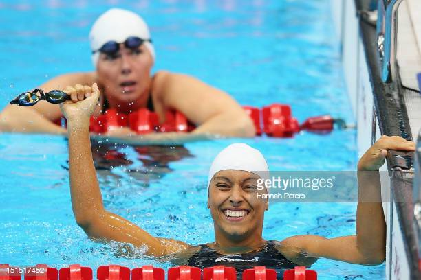 Teresa Perales of Spain celebrates winning the Women's 100m Freestyle S5 final on day 10 of the London 2012 Paralympic Games at Aquatics Centre on...