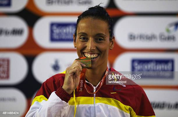 Teresa Perales of Spain poses with her gold medal from the final of the Women's 100m Freestyle S5 during Day Seven of The IPC Swimming World...