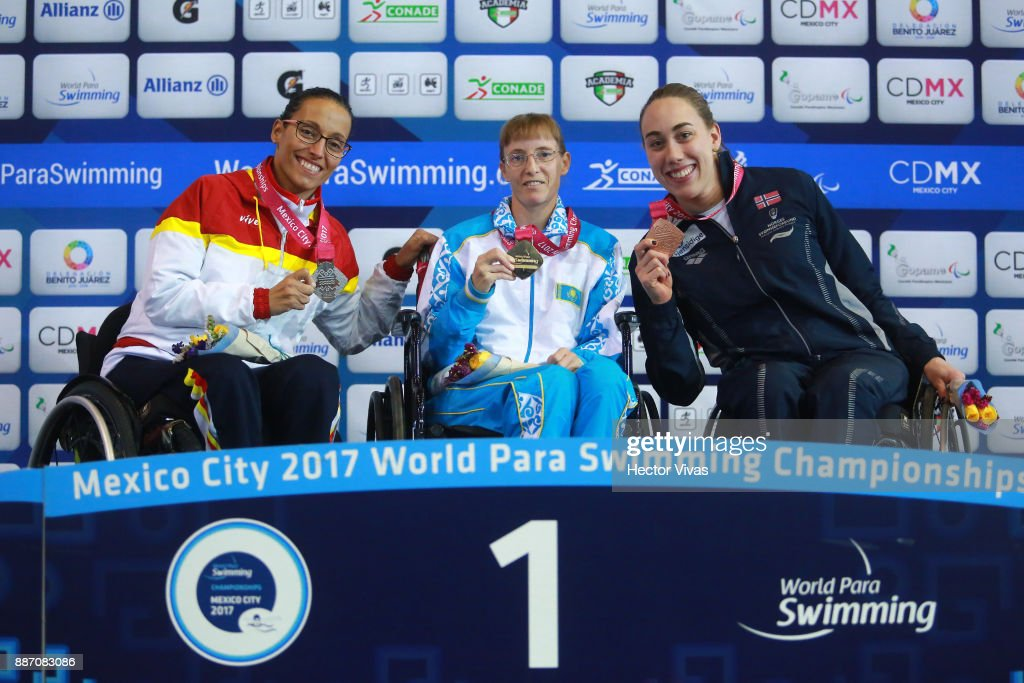Teresa Perales of Spain silver medal, Natalya Zvyagintseva of Kazakhstan gold medal and Sarah Rung of Norway bronze medal in Women's 50 m Backstroke S5 pose during day 3 of the Para Swimming World Championship Mexico City 2017 at Francisco Marquez Olympic Swimming Pool. on December 4, 2017 in Mexico City, Mexico.