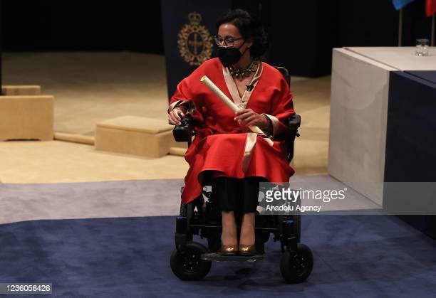 Teresa Perales, swimming champion at the 2020 Tokyo Paralympics receives her Princess of Asturias Award for Sports award during Princess of Asturias...