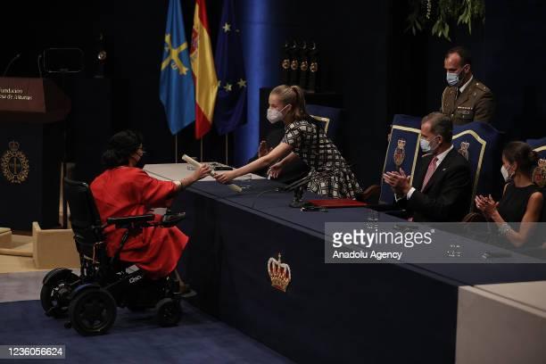 Teresa Perales , swimming champion at the 2020 Tokyo Paralympics receives her Princess of Asturias Award for Sports award during Princess of Asturias...