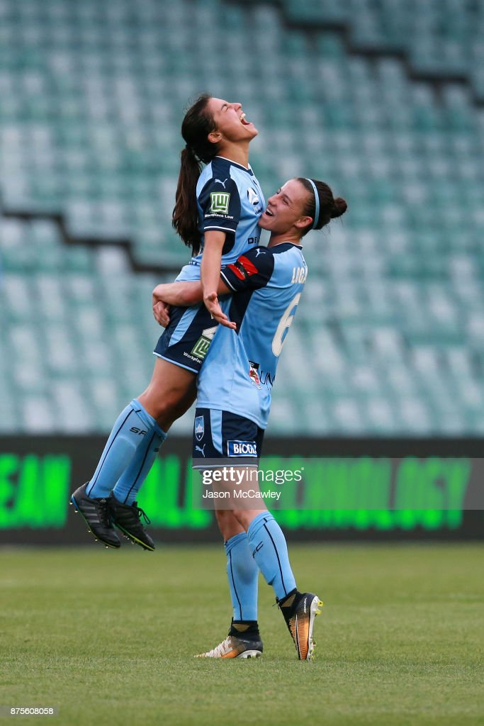 Teresa Polias and Chloe Logarzo of Sydney celebrate at full time after winning the round four W-League match between Sydney and Melbourne City at Allianz Stadium on November 18, 2017 in Sydney, Australia.