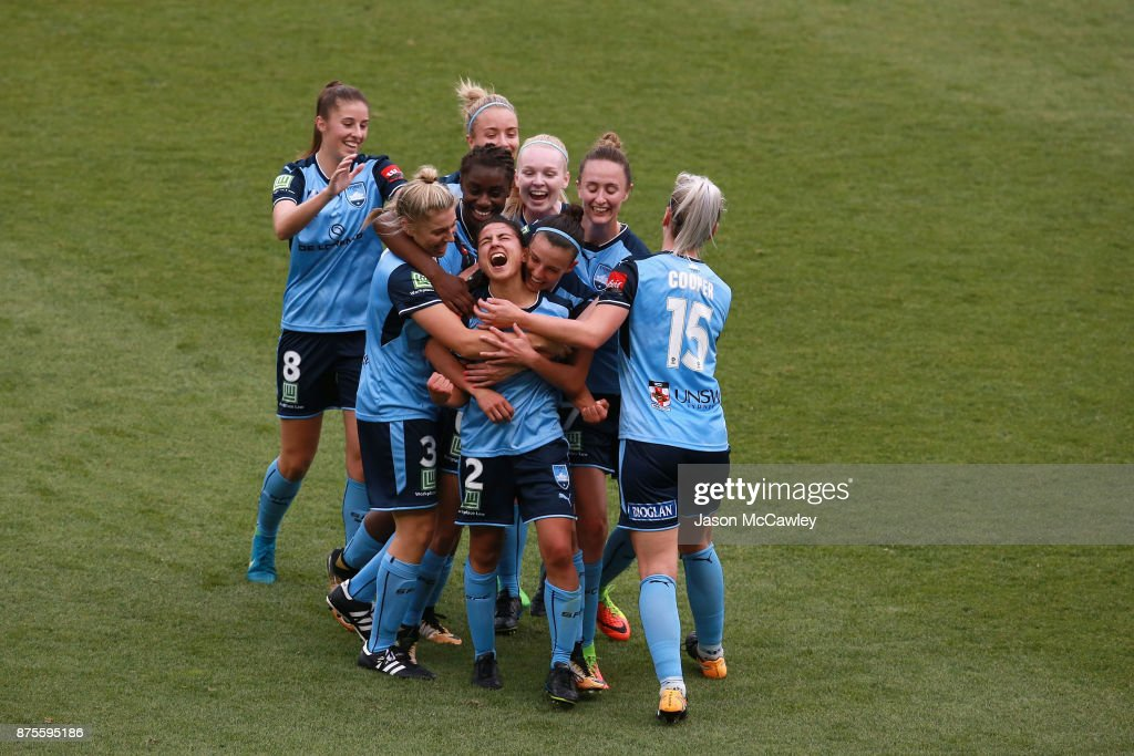 Teresa Polias of Sydney celebrates scoring a goal during the round four W-League match between Sydney and Melbourne City at Allianz Stadium on November 18, 2017 in Sydney, Australia.