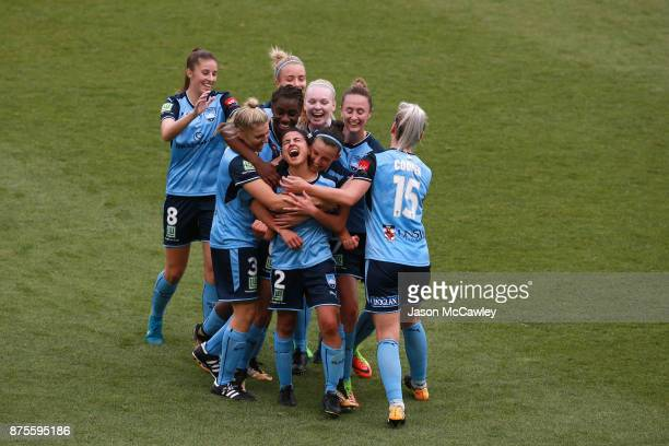 Teresa Polias of Sydney celebrates scoring a goal during the round four WLeague match between Sydney and Melbourne City at Allianz Stadium on...