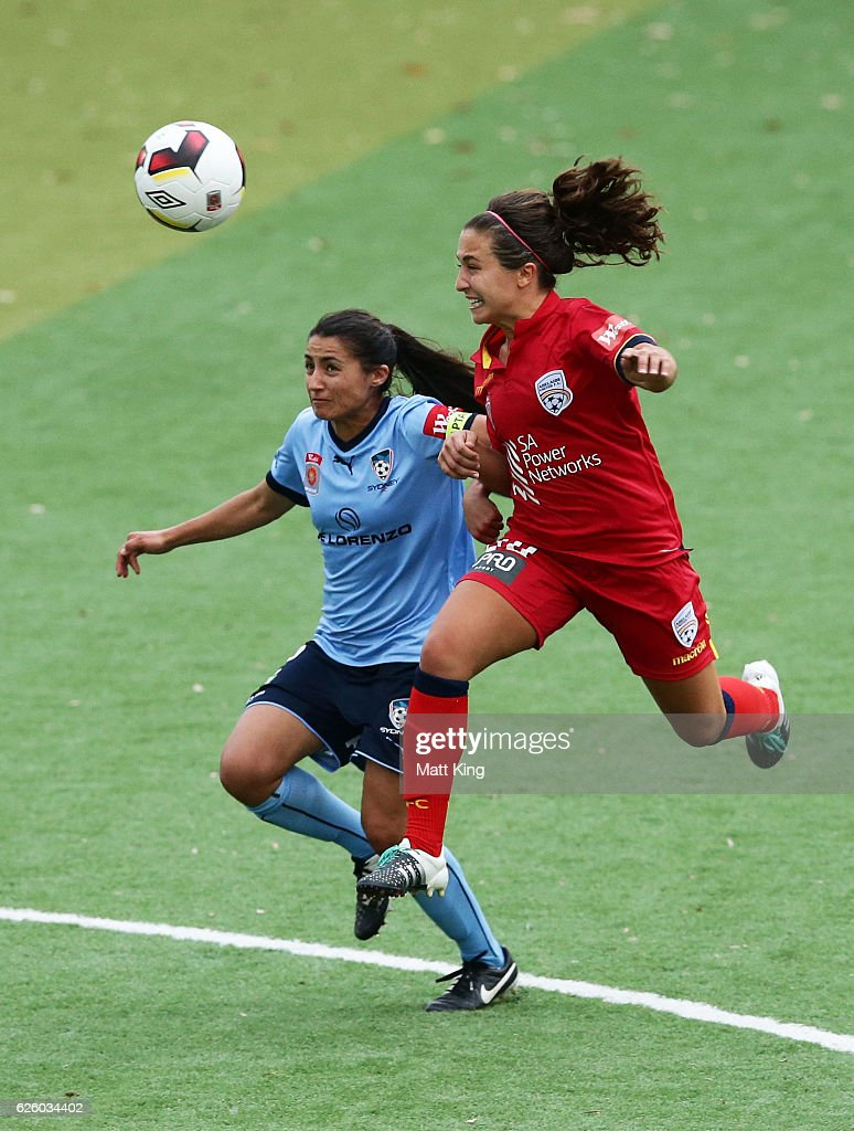 Teresa Polias of Sydney FC competes for the ball against Danielle Colaprico of United during the round four W-League match between Sydney FC and Adelaide United at Seymour Shaw on November 27, 2016 in Sydney, Australia.