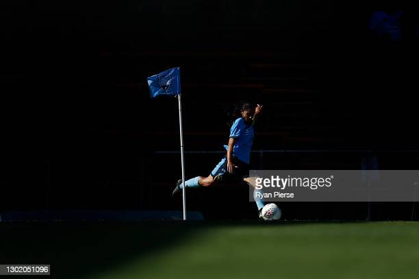Teresa Polias of Sydney FC takes a corner during the round eight W-League match between Sydney FC and the Brisbane Roar at Leichhardt Oval, on...