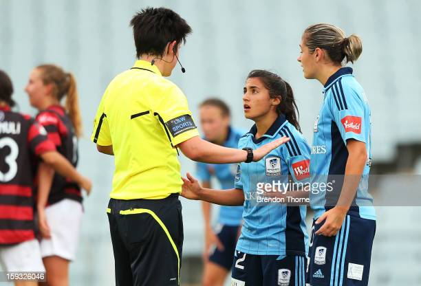 Teresa Polias of Sydney speaks with Referee Kate Jacewicz during the round 12 WLeague match between the Western Sydney Wanderers and Sydney FC at...