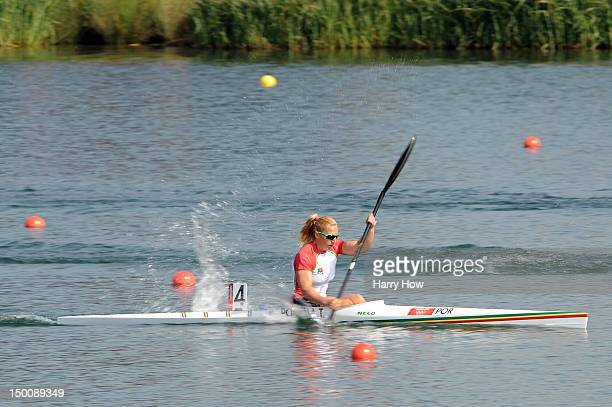 Teresa Portela of Portugal competes in the Women's Kayak Single 200m Sprint heats on Day 14 of the London 2012 Olympic Games at Eton Dorney on August...