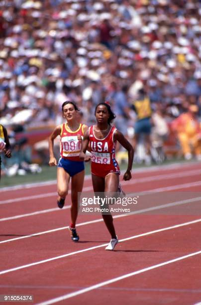 Teresa Rioné Evelyn Ashford Women's Track 100 metres competition Memorial Coliseum at the 1984 Summer Olympics August 5 1984