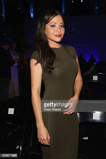 Teresa Ruiz attends the first day of MercedesBenz Fashion Week Mexico Autumn/Winter 2016 at Colegio De Las Vizcainas on April 11 2016 in Mexico City...