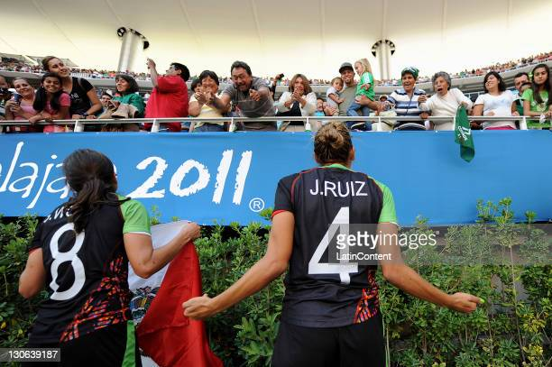 Teresa Worbis and Jennifer Ruiz of Mexico celebrate the victory over Colombia during a bronze medal match as part of the XVI Pan American Games at...