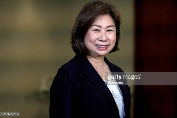 Teresita SyCoson vice chairman of SM Investments Corp speaks during a Bloomberg Television interview in Manila the Philippines on Monday March 5 2018...