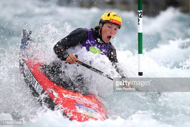 Tereza Fiserova of Czech Republic competes in the Women's C1 Heats during the 2019 ICF Canoe Slalom World Cup at Lee Valley White Water Centre on...