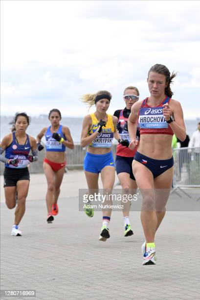 Tereza Hrochova of Czech Republic compete in the Women's Final run during the World Athletics Half Marathon Championships on October 17, 2020 in...