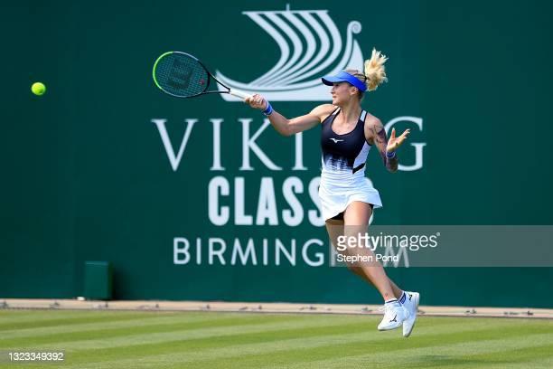 Tereza Martincova of Czech Republic in action against Georgina Garcia Perez of Spain in qualifying during the Viking Classic Birmingham at Edgbaston...