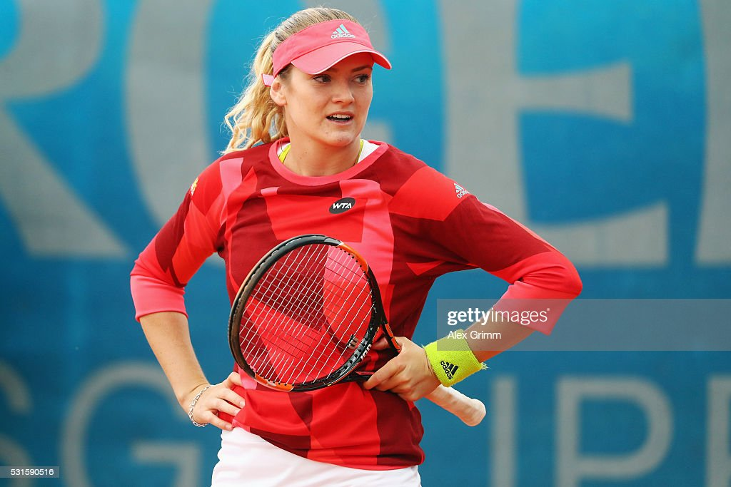 Tereza Martincova of Czech Republic reacts during her match against Stephanie Vogt of Liechtenstein during Day Two of the Nuernberger Versicherungscup 2016 on May 15, 2016 in Nuremberg, Germany.